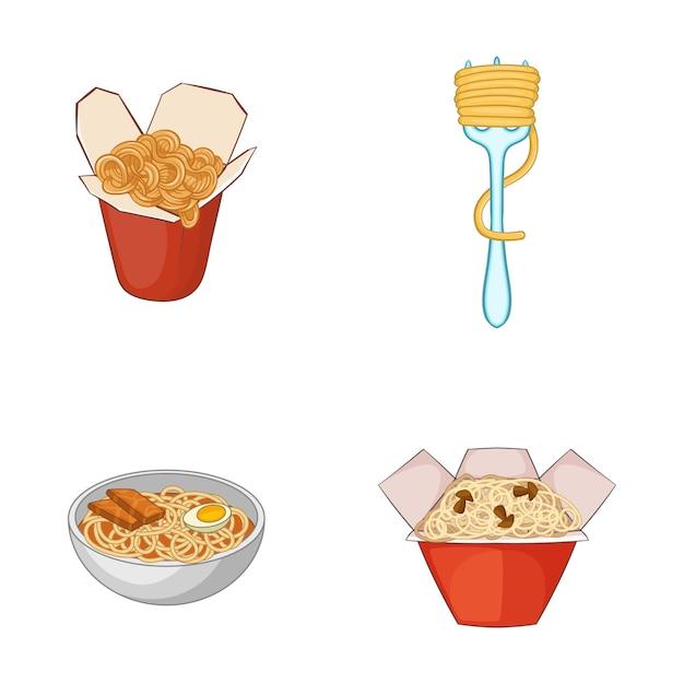 Spaghetti elementsatz. karikatursatz spaghettivektorelemente Premium Vektoren