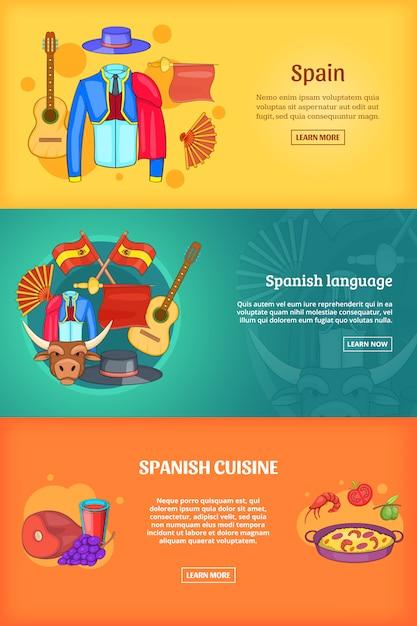 Spanien banner vorlage festgelegt. Premium Vektoren