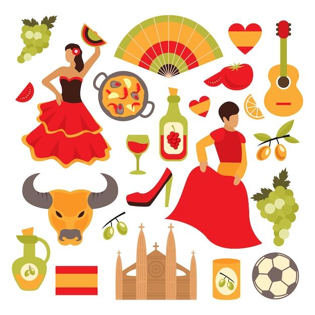 Spanien-elementsatz Premium Vektoren