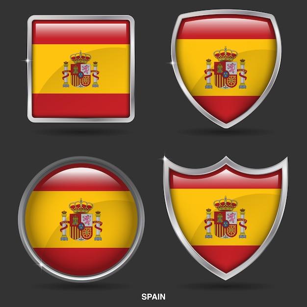 Spanien fahnen in 4 form-symbol Premium Vektoren