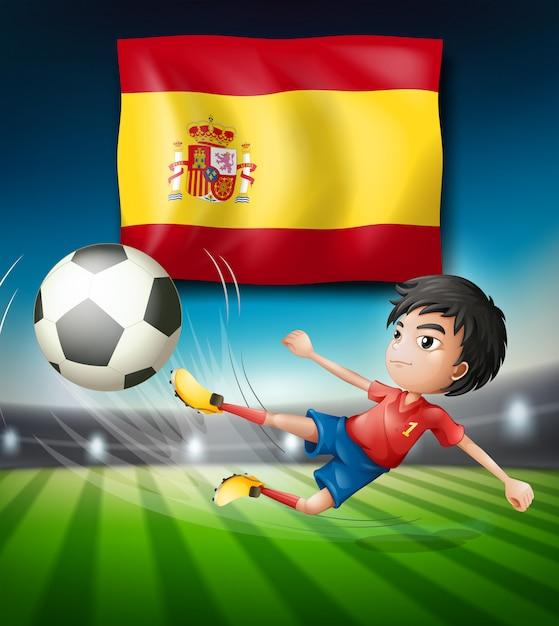 Spanien flagge und fußballspieler Premium Vektoren