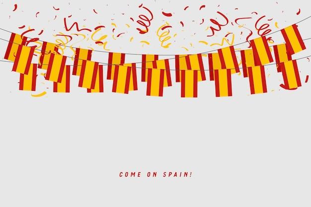 Spanien-girlandenflagge mit konfettis auf grauem hintergrund. Premium Vektoren