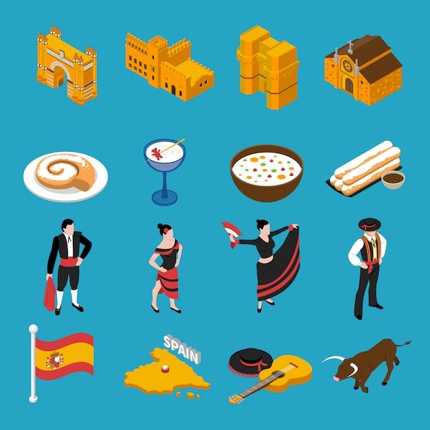 Spanien icons set Kostenlosen Vektoren