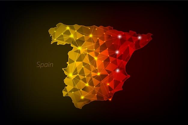 Spanien karte polygonal mit leuchtenden lichtern und linie Premium Vektoren