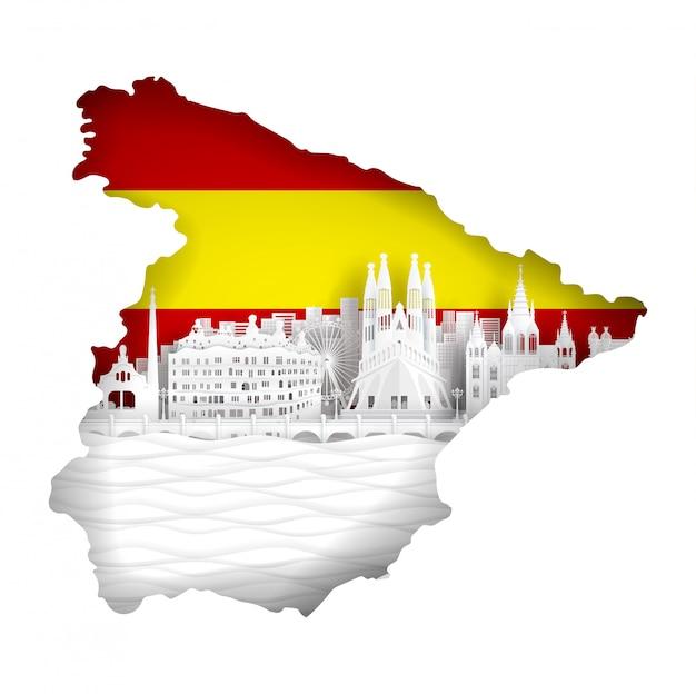 Spanien-kartenkonzept mit flagge und berühmtem markstein Premium Vektoren