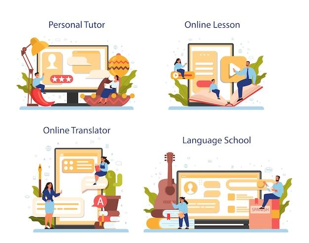 Spanisch lernen online-service oder plattform-set. sprachkurs spanischkurs. Premium Vektoren