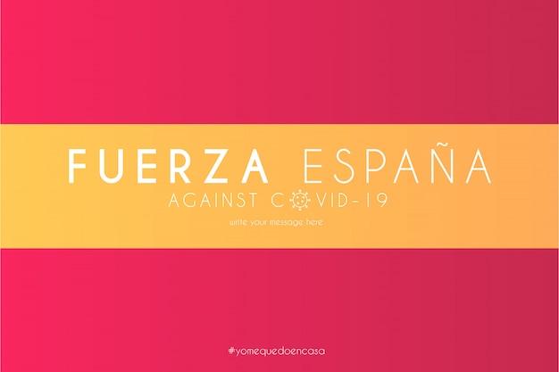 Spanische flagge mit unterstützungsnachricht gegen covid-19 Kostenlosen Vektoren