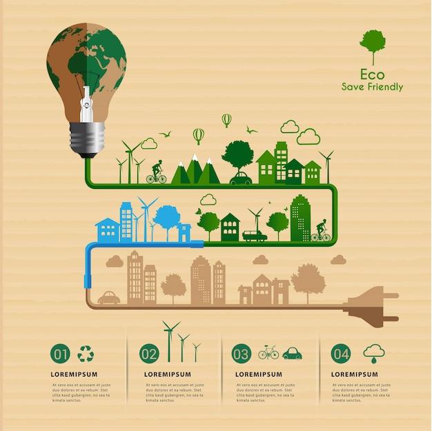 Sparen sie das freundliche eco-power-konzept. Premium Vektoren