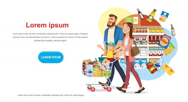 Sparen sie geld-rabatt in lebensmittelgeschäft-vektor-web-banner Premium Vektoren