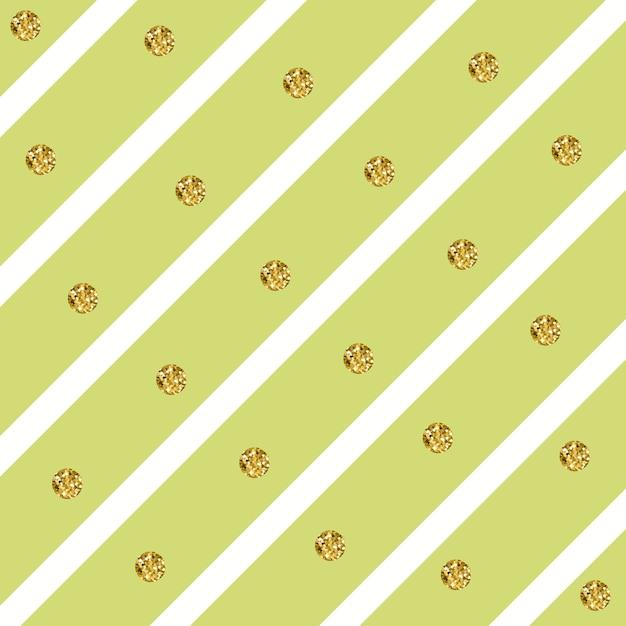Sparkly glam golden circles auf einem diagonalen streifenmuster Premium Vektoren