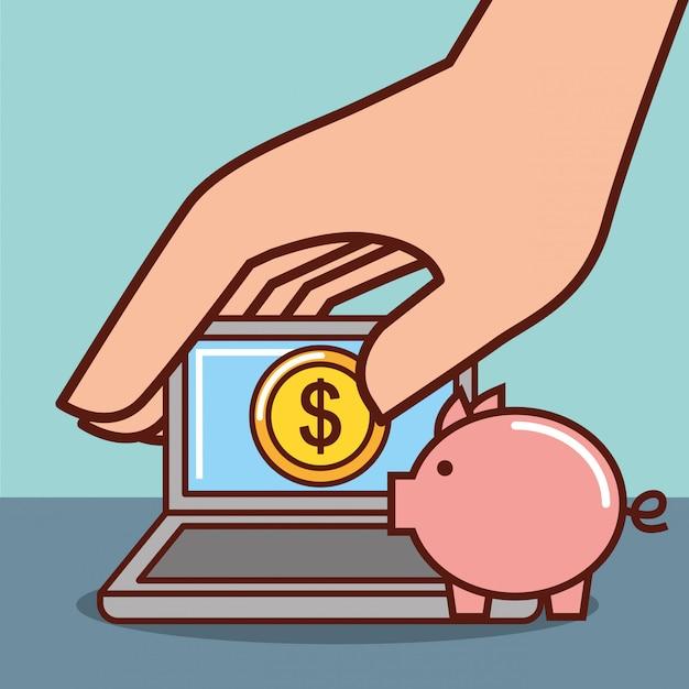 Sparschwein geld Kostenlosen Vektoren
