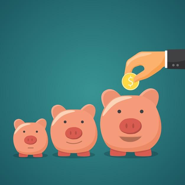 Sparschwein, konzept der geldzunahme. Premium Vektoren