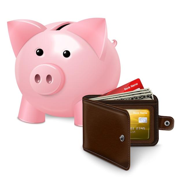 Sparschwein mit geldbörsenplakat Premium Vektoren