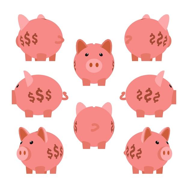 Sparschwein. set der piggy sparbüchsen Premium Vektoren