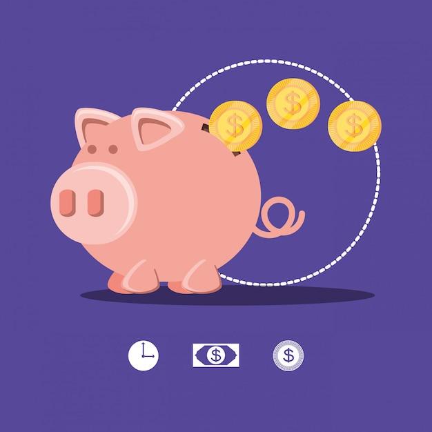 Sparschwein und münzen isoliert symbol Premium Vektoren