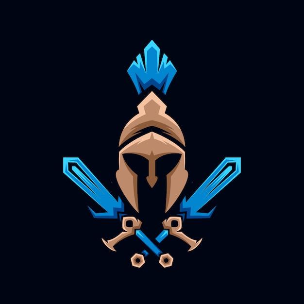 Spartan schwert logo sammlung Premium Vektoren