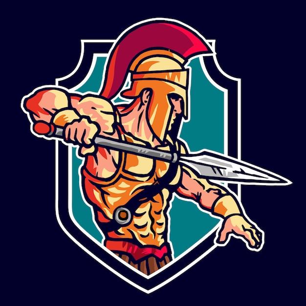 Spartan warrior mascot logo Premium Vektoren