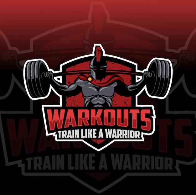 Spartan workout maskottchen logo esport Premium Vektoren