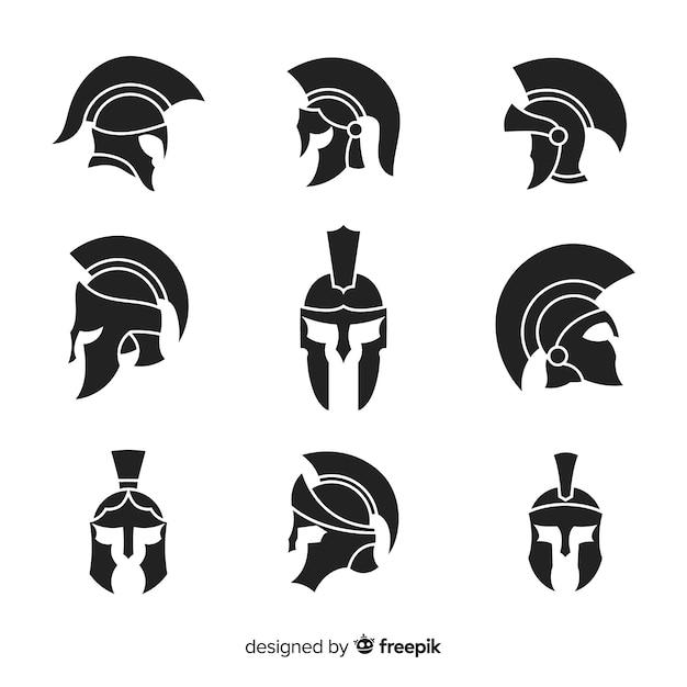 Spartanische helmsammlung des schattenbildes Kostenlosen Vektoren