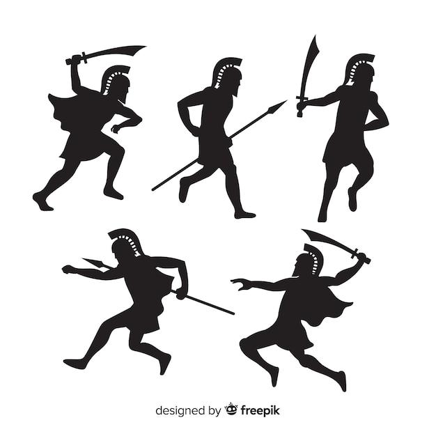 Spartanische kriegerschattenbildsammlung Kostenlosen Vektoren
