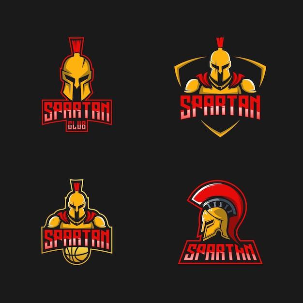 Spartanische logo-design-kollektion Premium Vektoren