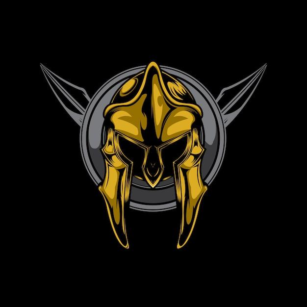 Spartanischer helm Premium Vektoren