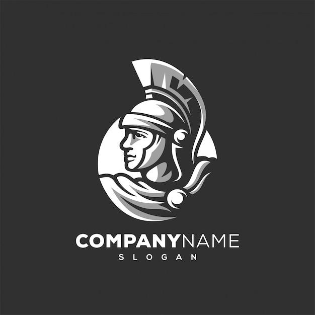 Spartanischer krieger logo design Premium Vektoren
