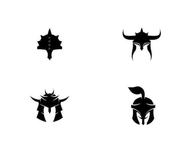 Spartanisches logo und vektordesignsturzhelm und -kopf Premium Vektoren