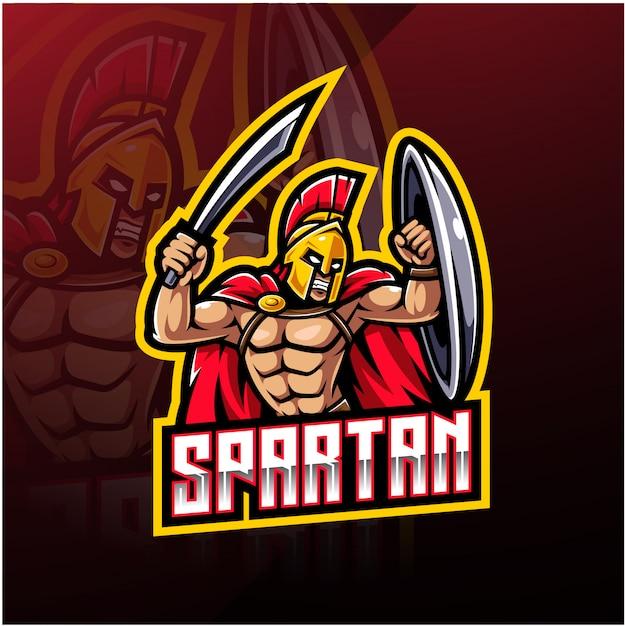 Spartanisches sportmaskottchen-logo Premium Vektoren