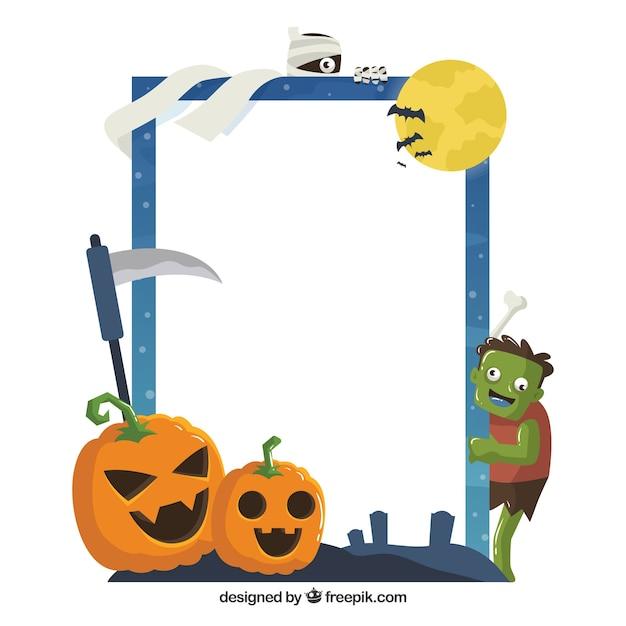 Spaß halloween-rahmen mit flachem design Kostenlosen Vektoren