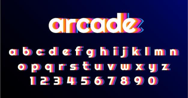 Spaß-retro spiel-guss-alphabet-satz Premium Vektoren