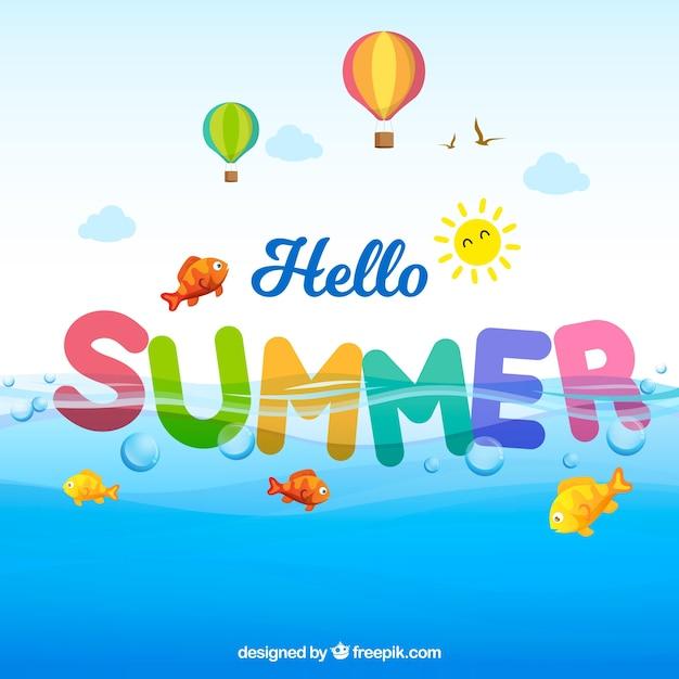 Spaß und bunter sommerhintergrund Kostenlosen Vektoren