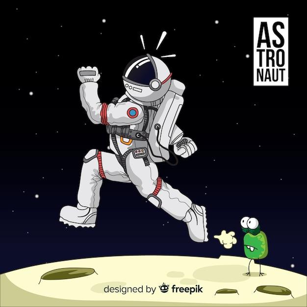 Spaßhand gezeichneter astronautcharakter Kostenlosen Vektoren