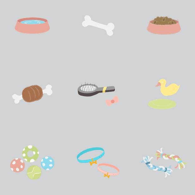 Spaßmantel hundeknochen spiel knochen hundeschüssel Kostenlosen Vektoren