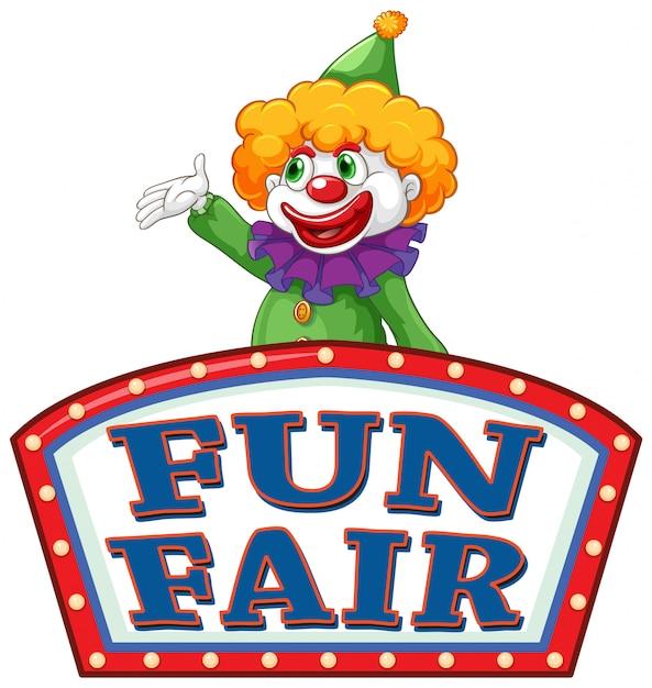 Spaßmesse-zeichenschablone mit glücklichem clown im hintergrund Kostenlosen Vektoren
