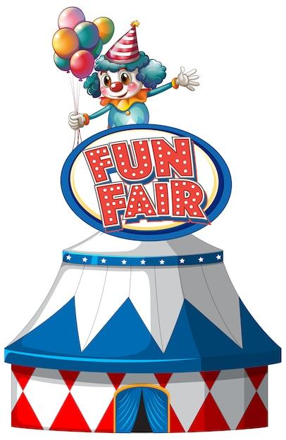 Spaßmesse-zeichenschablone mit großem zelt und glücklichem clown Kostenlosen Vektoren
