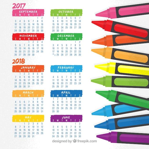 Spaßschulkalender mit buntstiften Kostenlosen Vektoren