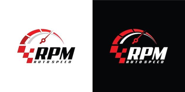 Speed u / min logo design für automobile Premium Vektoren