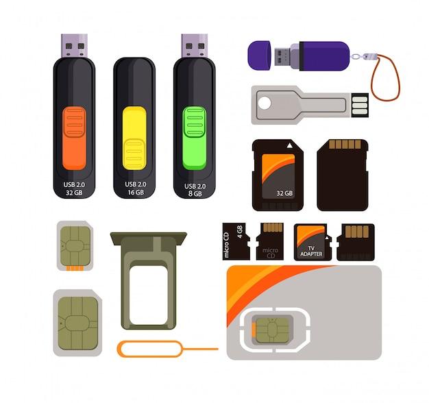 Speicherkarten-icons gesetzt Kostenlosen Vektoren