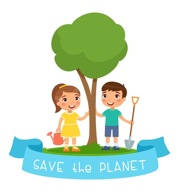 Speichern sie den planeten illustration. junge und mädchen mit gießkanne und schaufel zum pflanzen des sämlings Kostenlosen Vektoren