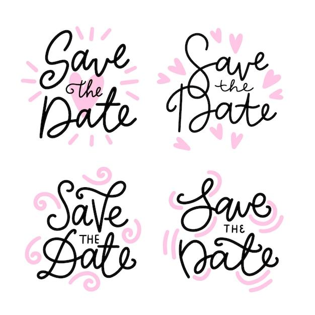 Speichern sie die datumsbeschriftung mit rosa herzen Kostenlosen Vektoren
