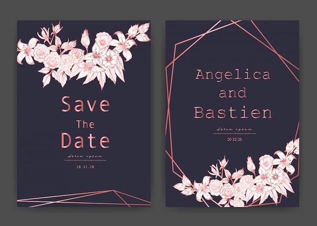 Speichern sie die datumshochzeitskarte, hochzeitseinladungskarten mit hand gezeichnetem botanischem. Premium Vektoren