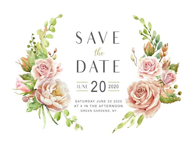 Speichern sie die datumskarten-aquarellrosen Premium Vektoren