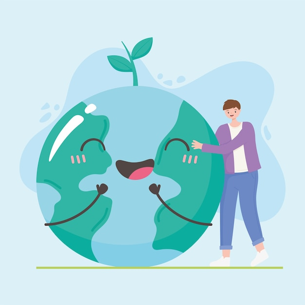 Speichern sie die planeten-, jungen- und erdkarte glückliche zeichen zusammen illustration Premium Vektoren