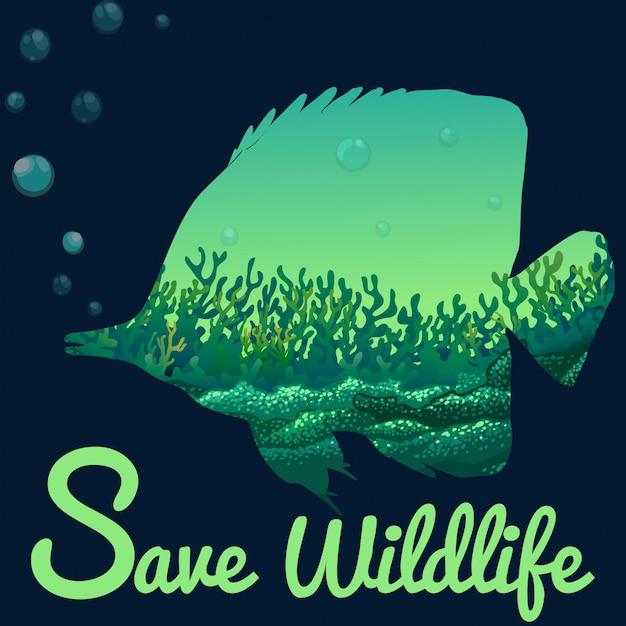 Speichern sie wildlife-thema mit fischen unter wasser Premium Vektoren