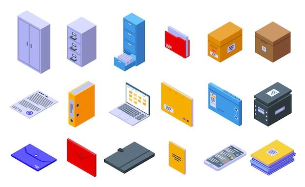 Speicherung von dokumenten-symbolen festgelegt, isometrischer stil Premium Vektoren