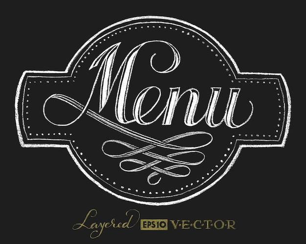 Speisekarte. schriftzug an der tafel Premium Vektoren