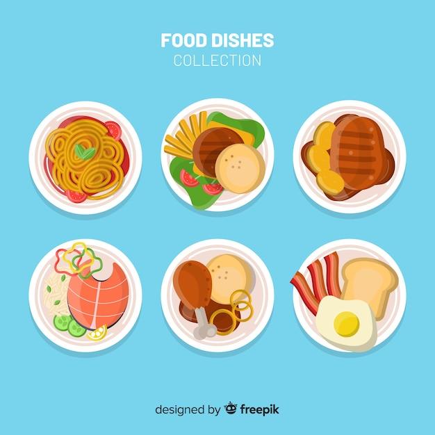 Speiseteller-sammlung Kostenlosen Vektoren