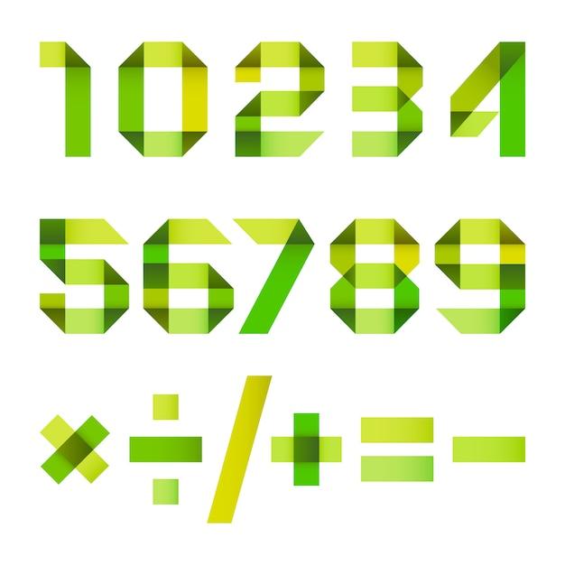 Spektralbuchstaben aus papierband gefaltet Premium Vektoren