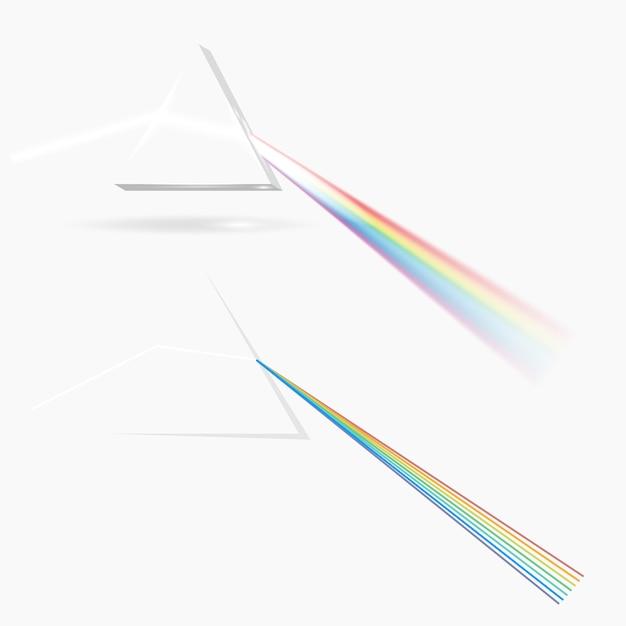 Spektrum prismenbild. transparentes optisches element, dreieckig Premium Vektoren